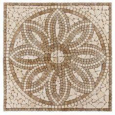 Product Details Update your home's design with this 36 x 36 textured square Florentine Tumbled Travertine Medallion. Mosaic Art, Mosaic Glass, Mosaic Tiles, Mosaics, Mosaic Garden, Mosaic Crafts, Mosaic Projects, Tiling, Herringbone Backsplash