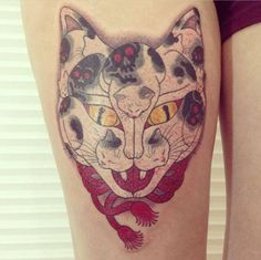 One of the famous Monmon cats of Horitomo: how many can you spot here??? Chinese cat tattoo