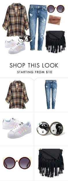 """street style"" by maneesha1 ❤ liked on Polyvore featuring Bobeau, adidas Originals, StreetStyle, adidas, boyfriendjeans, sneakers and plaidshirt"