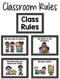 Pre-K Class Rules Posters in Black & White Dot Here are some printable rules posters you can use in your classroom. Classroom Rules for Pre-K and Preschool children should be short, and easy to understand by a young child. I recommend having no Preschool Classroom Rules, Clean Classroom, Classroom Behavior, Classroom Management, Preschool Center Signs, Preschool Classroom Decor, Preschool Activities, Class Rules Poster, Classroom Rules Poster