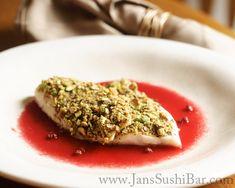 Pistachio-Crusted Halibut with Blood Orange Sauce
