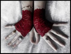 Undead Lace Fingerless Gloves - Deep Wine Red - Vampire Dark Fusion Bohemian Victorian Wedding Garnet Gothic Bellydance Goth Lolita Fetish