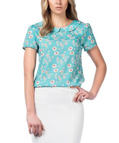Loving this Guita Mint & White Daisy Short-Sleeve Top on #zulily! #zulilyfinds