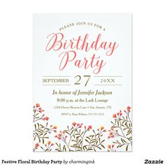 Festive Floral Birthday Party 5x7 Paper Invitation Card