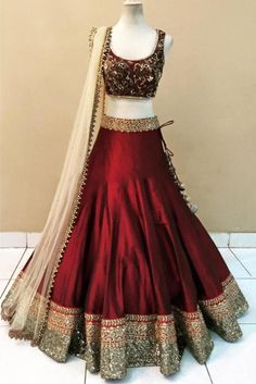 Art Silk and Net Party Wear Lehenga Choli in Maroon and Off White Colour NC2388 Image