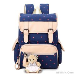 d7d206d5ec Fresh Flower Large Capacity Bear Student School Bag Rucksack Canvas  Backpack only  36.99 -AtWish.com