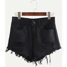 Black Ripped Fringe Denim Shorts (143.365 IDR) ❤ liked on Polyvore featuring shorts, black, short jean shorts, cotton shorts, distressed denim shorts, torn shorts and destroyed denim shorts