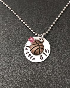 Hand stamped Basketball Necklace by 3sisterscollections on Etsy