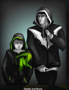 Damian (Robin) and Bruce (Batman). I want these hoodies so damn bad