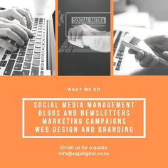 WHAT WE DO!!!!  Social Media Management Blogs and Newsletters Marketing Campaigns Web Design and Branding  Contact us for a quote - info@sqpdigital.co.za   #business #marketing #socialmedia #socialmediamanager #brand #brandidentity #socialresponsibility Facebook Sign Up, Business Marketing, Campaign, Web Design, Management, Branding, Social Media, Digital, Quotes