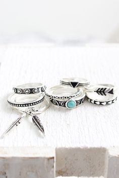 Feather & Stone Ring Set