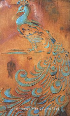 Peacock created with Wood Icing, Artisan Enhancements stencil, Modern Masters metal effects rust patina, and General Finishes milk paint.  All together at Artistic Home Studio.