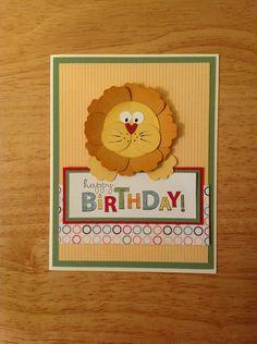 Handmade Everyday Birthday Card Kit Cute Lion Made w Mostly Stampin Up Prod   eBay