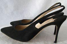 MANOLO BLAHNIK Allura Black Suede Leather Sling Back Pumps SZ 39 NWOB #shoes #designer