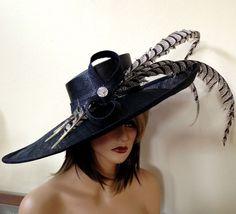Kentucky Derby Hat. Formal hat. Del Mar  Black by AnnettesCouture