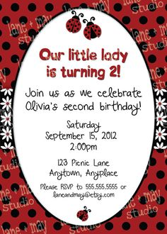 ladybug birthday party digital/print at home by lane + may on Etsy, $15.00
