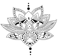 Coloriage adulte Tatouages : Tatouage lotus 1