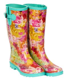 Another great find on #zulily! Turquoise & Pink Lagniappe Rain Boot #zulilyfinds