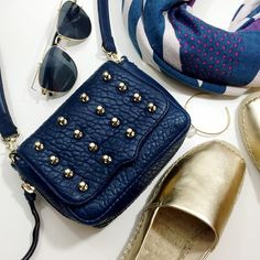"""Rebecca Minkoff Indigo Studded Mini Crossbody Details: • Bubble textured leather • Gold hardware • Magnetic flap closure  • Exterior zipper for expansion • Back slip pocket • Detachable adjustable shoulder strap with a 24"""" max drop • 6"""" H X 7"""" W X 2.5"""" D • Last photo shows same style in different color  • NWT and dust bag  04011608 Rebecca Minkoff Bags Crossbody Bags"""