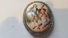 Vintage Painted Cameo Edwardian Victorian Couple Dancing Sterling Silver Setting C Clasp by MYBRICKHOUSE on Etsy
