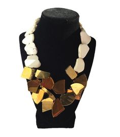 Holidays necklace,  Gold tone freeform agate slabs and white Magnesite freeform slabs