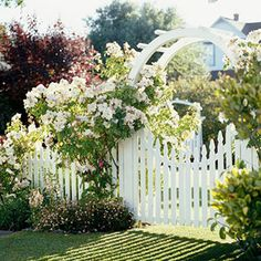 Enjoy a Little Romance It's tough to get more romantic than a white arbor, picket fence, and climbing roses. The combination is perfect for just about any informal landscape -- especially if you have a cottage-garden style White Picket Fence, Picket Fences, Picket Gate, White Fence, Wooden Fences, Wooden Garden, Picket Fence Garden, Garden Cottage, Climbing Roses