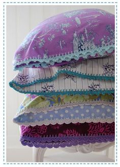 vintage fabric + crochet trim pillows