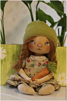 Купить Грэйс - текстильная кукла, тыквоголовка, тыковка, трикотаж, хлопок, нитки