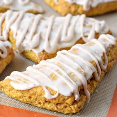 Pumpkin Scones  Better than Starbucks these homemade Pumpkin Scones are topped with two glazes!! Get your coffee ready!