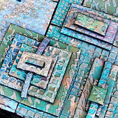 {tutorial} embossed foam and metal tape by Balzer-designs. Great for making stamps! Mixed Media Tutorials, Art Tutorials, Metal Tape Art, Faux Stained Glass, Foil Art, Distressed Painting, Diy Craft Projects, Crafts, Mixed Media Canvas