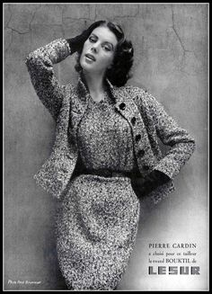 Model in black and white tweed dress and jacket by Pierre Cardin, photo by Fred Brommet, 1954