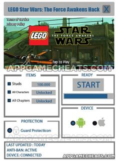 LEGO Star Wars: The Force Awakens hack cheat      LEGO Star Wars: The Force Awakens Tips, Cheats, & Hack for Studs, All Characters, & Chapters Unlock Star Wars is a franchise worth billion dollars, bearing in mind even spinoffs and prequels raking in an insane amount of maintenance.