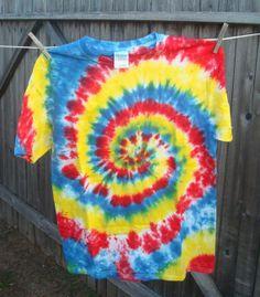 Tie Dye Tshirt  Rainbow Swirl TieDye  Adult by TexasTieDyeGuy