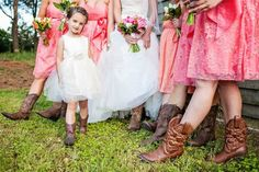 For rustic weddings, we love cowboy boots on everyone -- including the flower girl! | via Olive & Fern | via http://emmalinebride.com/flower-girl/cotton-flower-girl-dresses-ivory/