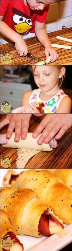 Ham and Cheese Crescents.. For Kids, By Kids!  Flaky crescent rolls, salty ham that gets crunchy on the edges, ooey gooey melted mozzarella cheese, and a sprinkling of Italian seasoning.  Great finger food for small hands!
