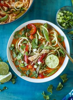 thai chicken zoodle soup I howsweeteats.com #chicken #soup #zoodles #zucchininoodles #coconutmilk
