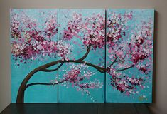 Items similar to painting -acrylic painting- landscape painting-flower painting-blossoms ,blossoming flower--blossoming tree ,cherry blossom,tulip,floral on Etsy Cherry Blossom Painting, Acrylic Painting Flowers, Abstract Flowers, Acrylic Art, Acrylic Painting Canvas, Abstract Canvas Art, Abstract Paintings, Art Plastique, Art Projects