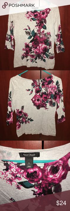 White House Black Market sweater Beautiful gray red and pink sweater with hints of teal. Has a boat neckline with bra strap snaps inside so your bra stay in place! 3/4 sleeve. Machine washable. So pretty! White House Black Market Sweaters Crew & Scoop Necks
