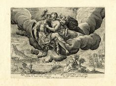 """Mars and Venus embrace in the clouds, with Cupid at Venus's shoulder, above a landscape labelled """"Africa"""" at midday (Meridies);After: Crispijn de Passe the Elder"""