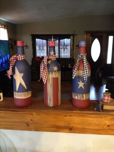 Painted wine bottles! Love how they turned out!!