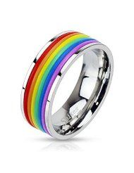 Stainless Steel Rainbow Rubber Striped Gay Lesbian Pride Band Ring With Gift Box: Rainbow Rubber Striped Ring with a band wide of Highest quality stainless steel. Arrives in black ring box ready to gift. Gay Pride, Faux Piercing Oreille, Piercing Plug, Mens Stainless Steel Rings, Titanium Jewelry, Body Jewelry, Male Jewelry, Shopping, Gift Ideas