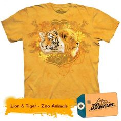 Tricouri The Mountain – Tricou Lion & Tiger Tiger Zoo, Mountain Lion, Zoo Animals, Teddy Bear, Cats, Gatos, Kitty, Cat, Cats And Kittens