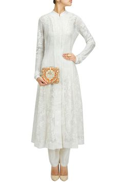 Ecru panel embroidered long jacket with pants BY PAYAL PRATAP.