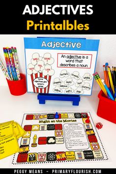 Here's some easy-prep engaging activities for 1st, 2nd, or 3rd grade students!  Perfect for your English Language Arts lessons to teach, practice, review, and keep your students engaged with the movie night theme.  Smartboard friendly, research based, kid tested, teacher approved! {first, second, third graders, ELA}. Check it out! #TeachersPayTeachers #grammar #adjectives #partofspeech Grammar Activities, Kids Learning Activities, Learning Resources, Grammar Skills, Teaching Grammar, Teaching Second Grade, Third Grade, Adjectives Grammar, Learn Art