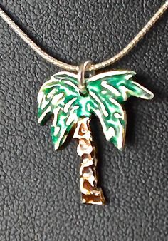 Palm Tree Pure Silver Pendant by SilverSunStudio on Etsy