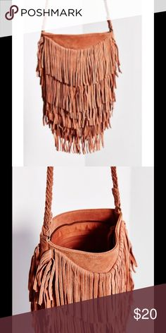 Ecote blush colored fringe bag Purchased from Urban Outfitters/ used twice/ real suede Ecote Bags Crossbody Bags