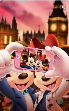 Mickey and Minnie Mouse Selfie