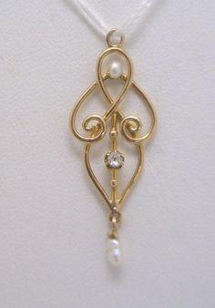Delicate Art Nouveau Lavalier Seed Pearl & OE Diamond Pendant 10KYG