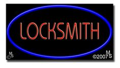 """Locksmith Neon Sign - 20"""" x 37""""-ANS1500-5698  37"""" Wide x 20"""" Tall x 3"""" Deep  Flashing Border """"ON/OFF"""" switch  Sign is mounted on an unbreakable black or clear Lexan backing  110 volt U.L. listed transformer fits into a standard outlet  Hanging hardware & chain included  6' Power cord with standard transformer  For indoor use only  1 Year Warranty on electrical components  1 Year Warranty on standard transformers."""