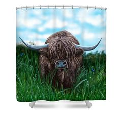 Scottish Highland Cow Shower Curtain. I make things that tickle my sense of humour. Can ye imagine your guest walking into your bathroom and seeing this bonnie heilan coo. It's always a sunny day with wee Hamish and his butterfly pals fluttering about.